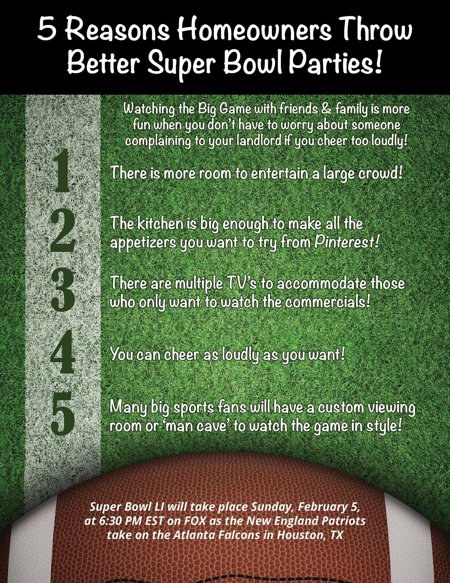 5 Reasons Homeowners Throw Better Super Bowl Parties! [INFOGRAPHIC] | Bridge Builders