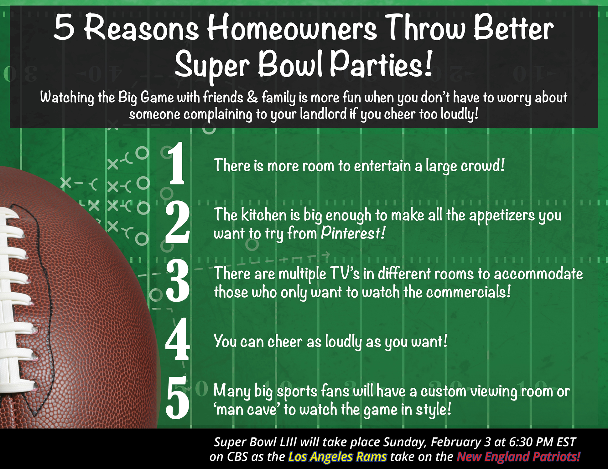 5 Reasons Homeowners Throw the Best Super Bowl Parties! [INFOGRAPHIC] | Bridge Builders